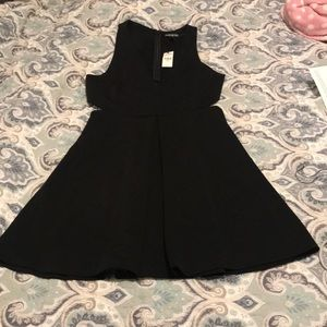 Express Black low v neck & side cut out dress